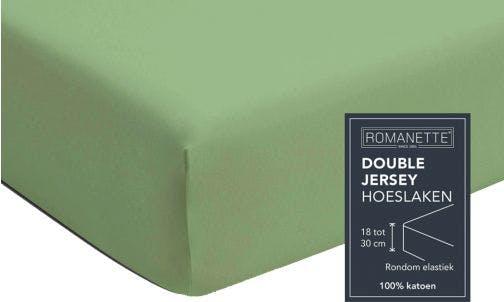 Romanette hoeslaken dusty green double jersey