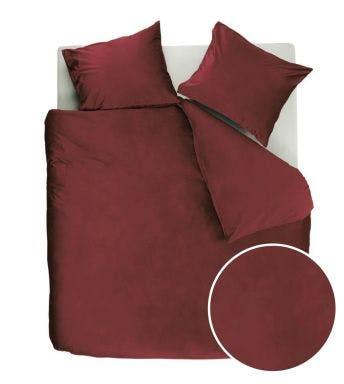 At Home by Beddinghouse dekbedovertrek Tender Dark Red fluweel