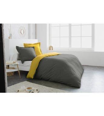 Home lineN dekbedovertrek Bicolore oker/antraciet flanel