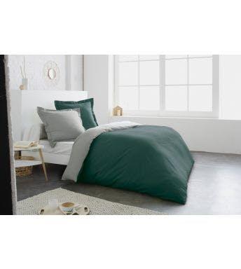 Home lineN dekbedovertrek Bicolore groen/zink flanel