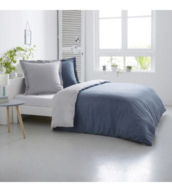 Home lineN dekbedovertrek Bicolore silver/denim flanel