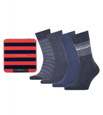 Tommy Hilfiger sokken 4 paar Tin Giftbox Stripe H