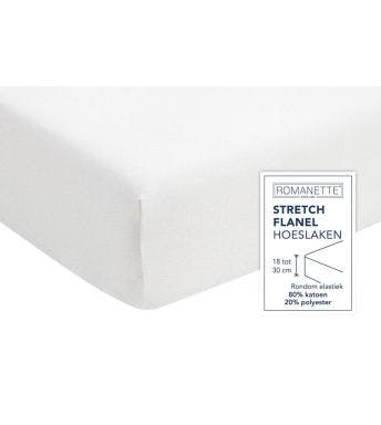 Romanette hoeslaken wit stretch flanel