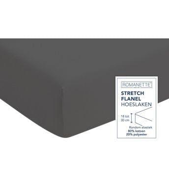 Romanette drap-housse anthracite flanelle stretch