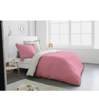 Home lineN dekbedovertrek Bicolore pink/ivoor katoen