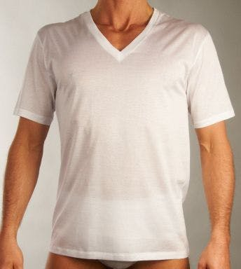 Hanro T-shirt Cotton Sporty Short Sleeve V-Neck Shirt H 073510
