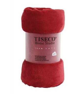 Tiseco Home Studio plaid soft uni rood microflanel
