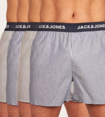 Jack & Jones wijde boxershort 4 pack Jacstrip Woven Trunks H