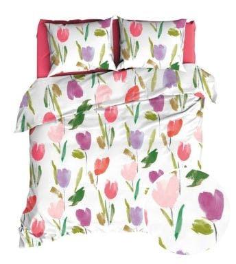 Romanette dekbedovertrek Tulips Multi Katoen