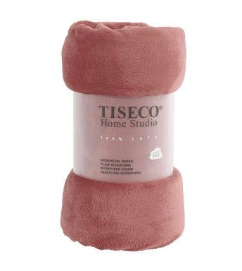 Tiseco Home Studio plaid Russet uni roze microflanel