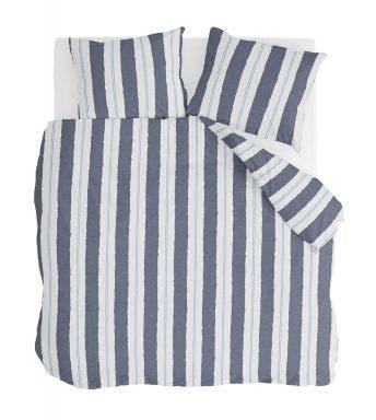 Walra housse de couette Remade Nautic Stripes Bleu Foncé Coton